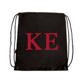 Black Drawstring Backpack-One Color Greek Letters
