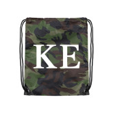 Camo Drawstring Backpack-One Color Greek Letters