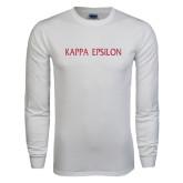 White Long Sleeve T Shirt-Kappa Epsilon Flat