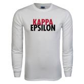 White Long Sleeve T Shirt-Kappa Epsilon Stacked