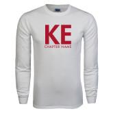 White Long Sleeve T Shirt-KE Chapter Name Personalized