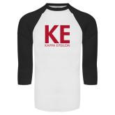 White/Black Raglan Baseball T-Shirt-KE Kappa Epsilon Stacked