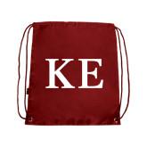 Cardinal Drawstring Backpack-One Color Greek Letters