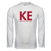 Performance White Longsleeve Shirt-KE Kappa Epsilon Stacked