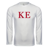 Performance White Longsleeve Shirt-One Color Greek Letters