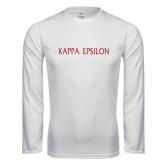 Performance White Longsleeve Shirt-Kappa Epsilon Flat