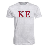 Next Level Heather White Tri Blend Crew-Two Color Greek Letters