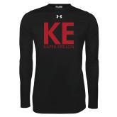 Under Armour Black Long Sleeve Tech Tee-KE Kappa Epsilon Stacked
