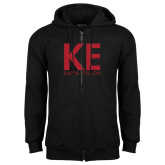 Black Fleece Full Zip Hoodie-KE Kappa Epsilon Stacked