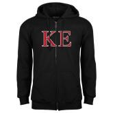 Black Fleece Full Zip Hoodie-Two Color Greek Letters