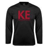 Performance Black Longsleeve Shirt-KE Kappa Epsilon Stacked