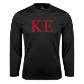 Performance Black Longsleeve Shirt-One Color Greek Letters