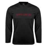 Performance Black Longsleeve Shirt-Kappa Epsilon Flat