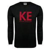 Black Long Sleeve TShirt-KE Kappa Epsilon Stacked