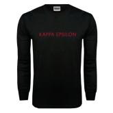 Black Long Sleeve TShirt-Kappa Epsilon Word Mark