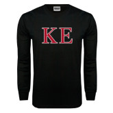 Black Long Sleeve TShirt-Two Color Greek Letters