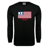 Black Long Sleeve TShirt-American Flag