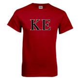 Cardinal T Shirt-Two Color Greek Letters
