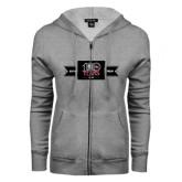 ENZA Ladies Grey Fleece Full Zip Hoodie-100 Years Logo