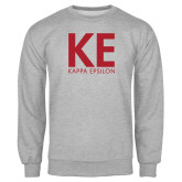 Grey Fleece Crew-KE Kappa Epsilon Stacked