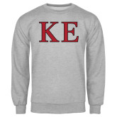 Grey Fleece Crew-Two Color Greek Letters