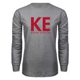 Grey Long Sleeve T Shirt-KE Kappa Epsilon Stacked