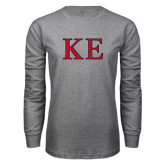 Grey Long Sleeve T Shirt-Two Color Greek Letters
