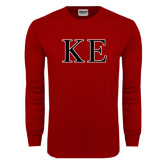 Cardinal Long Sleeve T Shirt-Two Color Greek Letters