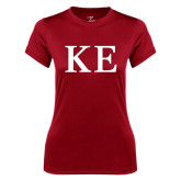 Ladies Syntrel Performance Cardinal Tee-One Color Greek Letters