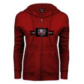 ENZA Ladies Cardinal Fleece Full Zip Hoodie-100 Years Logo