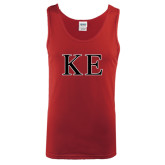 Cardinal Tank Top-Two Color Greek Letters