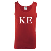 Cardinal Tank Top-One Color Greek Letters