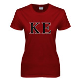Ladies Cardinal T Shirt-Two Color Greek Letters