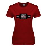 Ladies Cardinal T Shirt-100 Years Logo