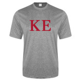 Performance Grey Heather Contender Tee-One Color Greek Letters