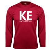 Performance Cardinal Longsleeve Shirt-KE Kappa Epsilon Stacked