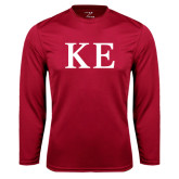 Performance Cardinal Longsleeve Shirt-One Color Greek Letters