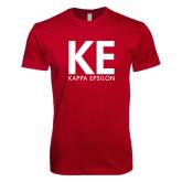Next Level SoftStyle Cardinal T Shirt-KE Kappa Epsilon Stacked