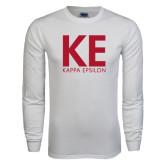 White Long Sleeve T Shirt-KE Kappa Epsilon Stacked