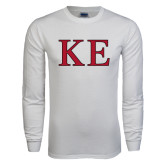 White Long Sleeve T Shirt-Two Color Greek Letters