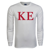 White Long Sleeve T Shirt-One Color Greek Letters