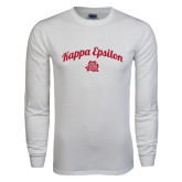 White Long Sleeve T Shirt-Arched Script