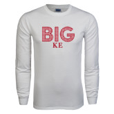 White Long Sleeve T Shirt-Block Letters w/ Pattern Big
