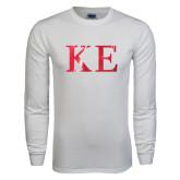 White Long Sleeve T Shirt-Greek Letters Foil