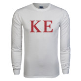 White Long Sleeve T Shirt-Greek Letters Glitter