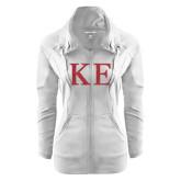 Ladies Sport Wick Stretch Full Zip White Jacket-Greek Letters Glitter