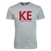 Next Level SoftStyle Heather Grey T Shirt-KE Kappa Epsilon Stacked