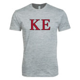 Next Level SoftStyle Heather Grey T Shirt-Two Color Greek Letters