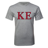 Grey T Shirt-Two Color Greek Letters