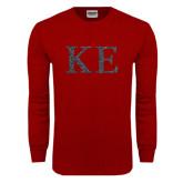 Cardinal Long Sleeve T Shirt-Greek Letters Glitter